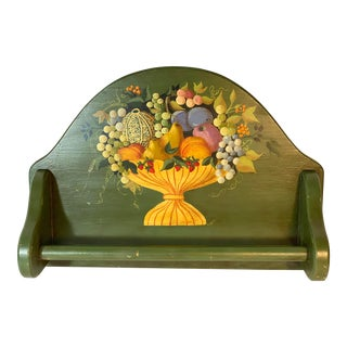 Country Motif Hand Painted Tole Wall Towel Rack/Holder Harvest Fruit Basket Motif For Sale