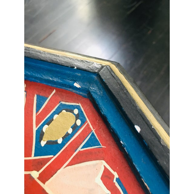 Moroccan Hexagonal Hand Painted Wooden Side Table For Sale In Los Angeles - Image 6 of 8
