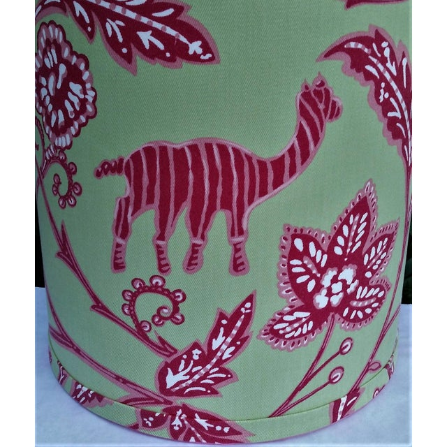 White Thibaut Fabric Lampshade Green Hot Pink Tropical For Sale - Image 8 of 10
