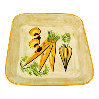 Vintage Hand Painted Vegetable Dish For Sale