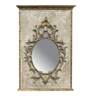 Carved Tuscan Painted Panel With Mirror For Sale