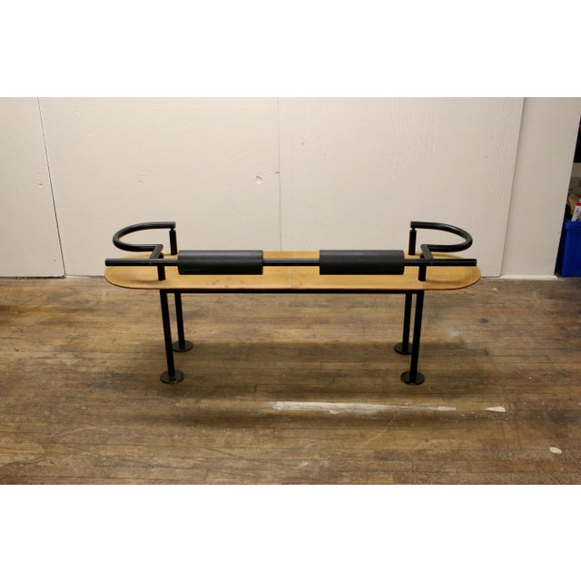 Memphis Vintage Ettore Sottsass Postmodern Memphis Group Style Steel and Leather Bench For Sale - Image 3 of 13