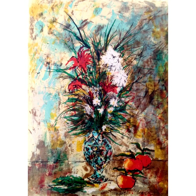 Limited edition still life lithograph, signed and numbered 183/275 by artist Bertoldo Taubert (1915 - 1974). Matted and...