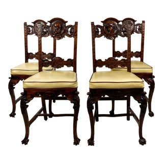 19th Century Spanish Revival Head Carved Chairs - Set of 4 For Sale