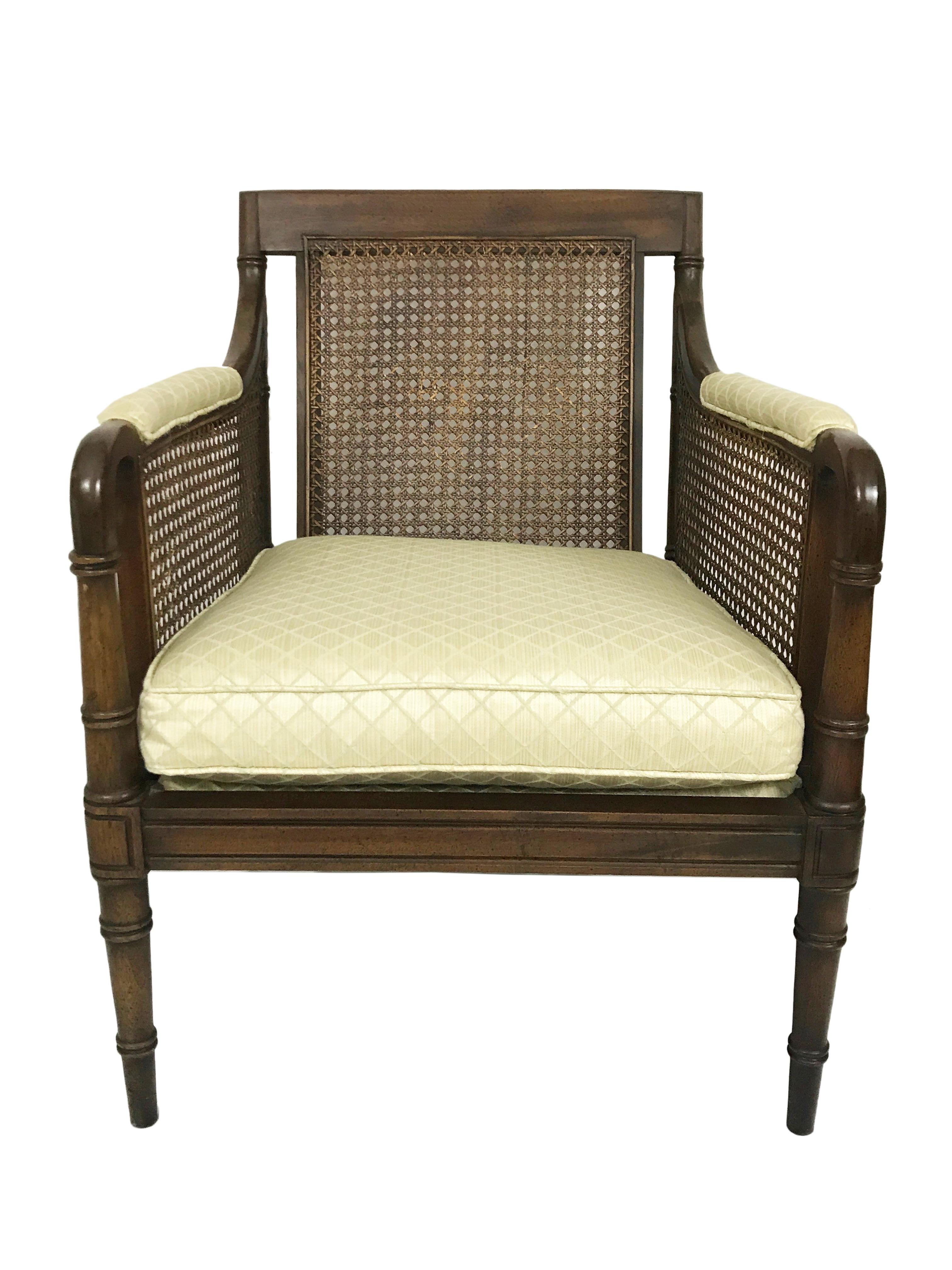 Beautiful Vintage Hickory Chair Style Faux Bamboo, Cane Side And Back  Armchair With Dark Walnut