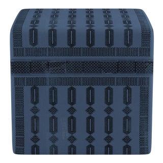 Cube Ottoman in Azul Doro For Sale