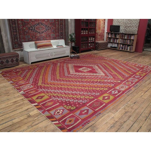 A large antique Kilim from Eastern Turkey with a rare design. Such large kilims were made by tribal weavers during the...