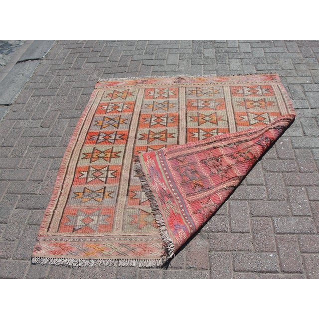 "Vintage Turkish Kilim Rug - 4'9"" x 5'1"" For Sale - Image 11 of 11"