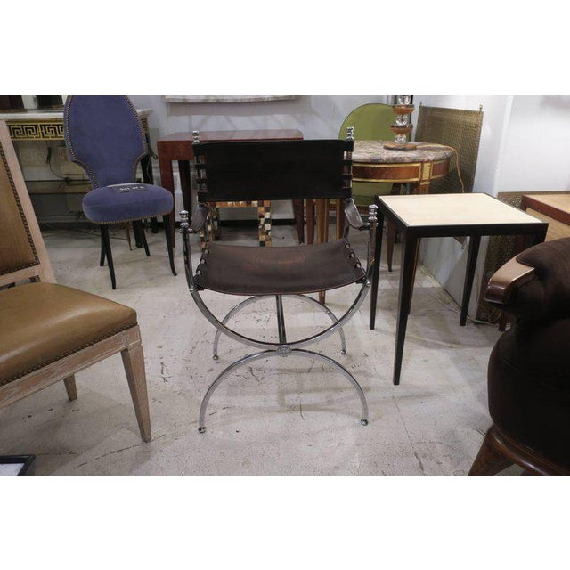 Modern Pair of Chrome and Leather Directors Chairs Attributed to Maison Jansen For Sale - Image 3 of 10