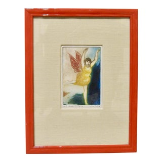 1960s Vintage Fairy Print Butterfly Woman Embossed Colored Etching Signed Vita Giorgi For Sale