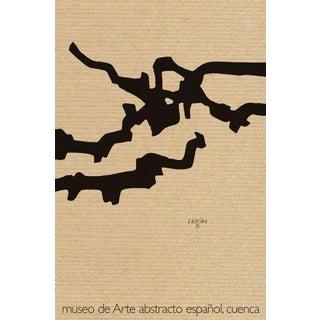 Eduardo Chillida Vintage Black Minimal Geometric Marble and Lead Museo De Arte Abstracto Español Lithography Poster For Sale