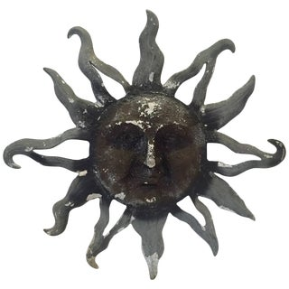 1960s Metal Zinc Grey Sunburst Wall Sculpture For Sale