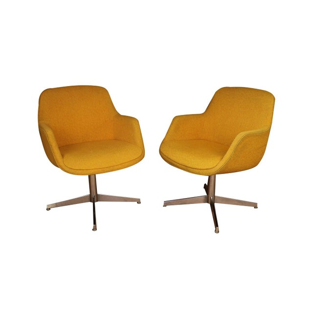 Yellow Gold Pair Mid Century Swivel Barrel Chairs Steelcase For Sale - Image 9 of 9