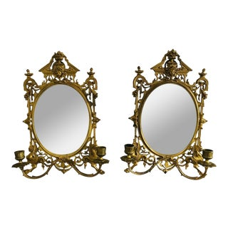 Pair of 19th C. Gilded Brass Mirror Sconces For Sale