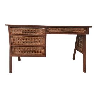 Rattan & Teak Writing Desk For Sale
