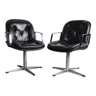 Set of 2 Black & Chrome High Stance Office Chairs For Sale