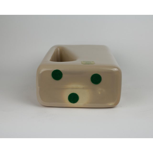 Ceramic 1960s Mid Century Modern Haeger Light Tan Rectanglular Cut Out Pottery Vase For Sale - Image 7 of 9