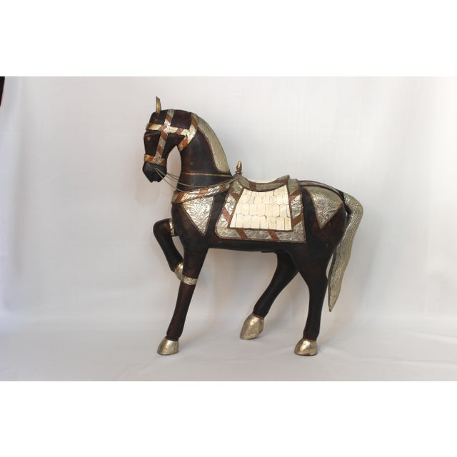 Brown Vintage Mid-Century Tang Style Wood and Metal Horse Sculpture For Sale - Image 8 of 13