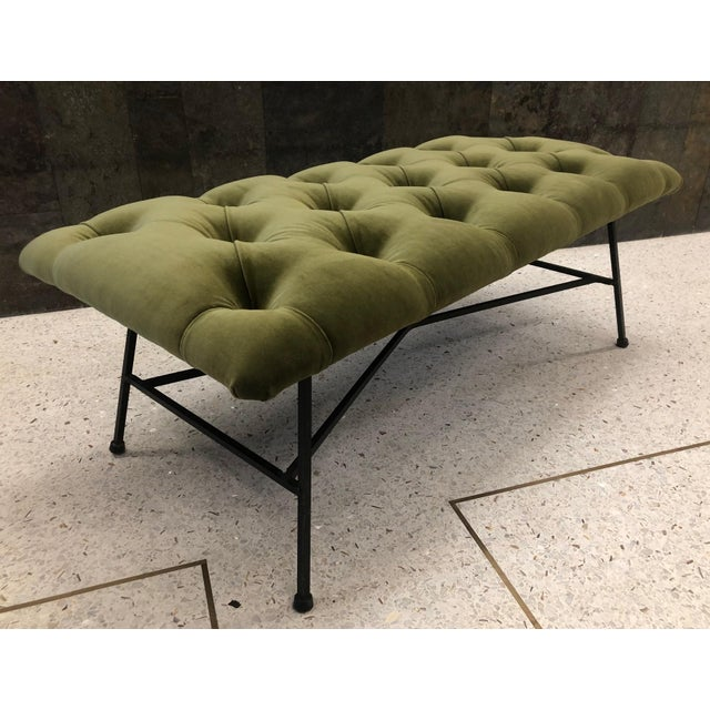 1960s Tufted Velvet and Wrought Iron Bench. Upholstered in a green velvet fabric with a wrought iron X base.