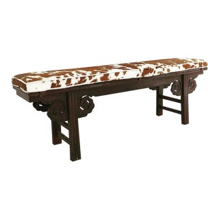 Vintage Chinese Cowhide Upholstered Double Side Carved Bench For Sale