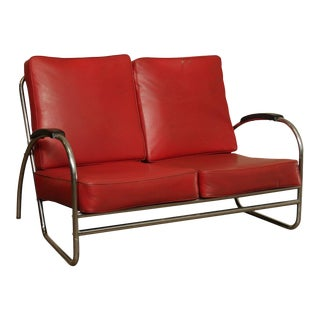 Royal Metal Manufacturing Co. Vintage Art Deco Tubular Love Seat Settee For Sale