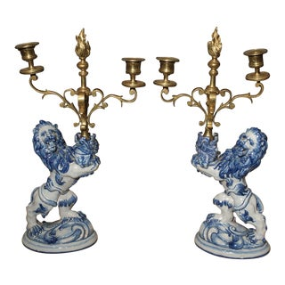 Pair of Late 1800s Emille Galle Faience Lion Candleholders from France