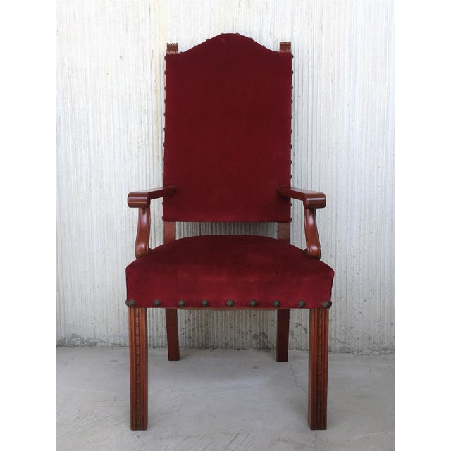 About 19th century Spanish revival high back armchair with red velvet upholstery. Details PRODUCTION TIME Available Now IN...