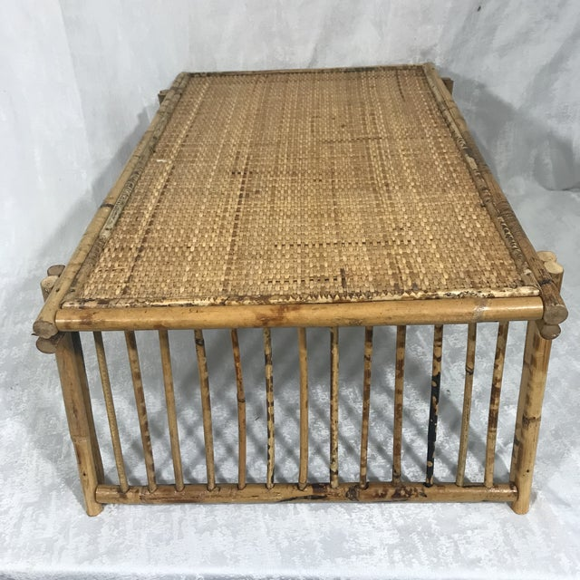 20th Century Chinoiserie Tortoise Shell Bamboo & Rattan Folding Bed Tray Table For Sale In Miami - Image 6 of 7