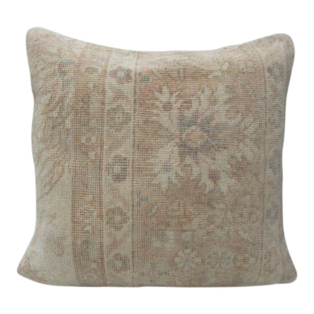 Vintage Turkish Tan & Beige Floral Cushion Cover For Sale