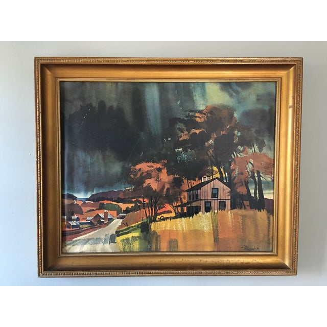 Mid century watercolor painting. Fantastic use of color, signed Wagner. Slight wrinkle in lower left corner.