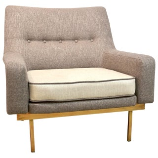 1970s Arflex Italian Brass Base Two-Tone Pepper Cream and Taupe Gray Armchair For Sale