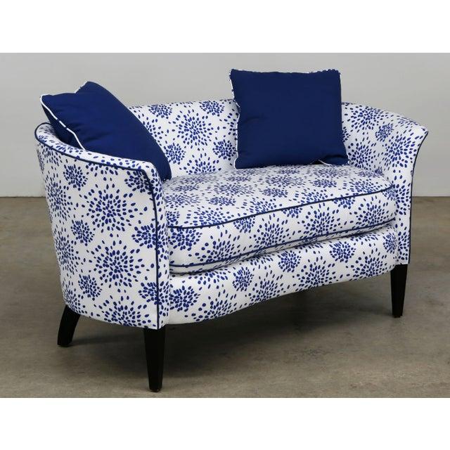 Modern Blue & White Custom Made Settee For Sale - Image 4 of 5