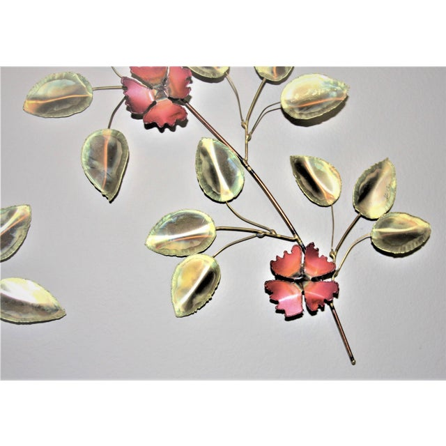 A mid-century modern set of 2 brass and enameled torch cut floral wall art. Jere & Silas Seandel Era SIGNED ART. Signed by...