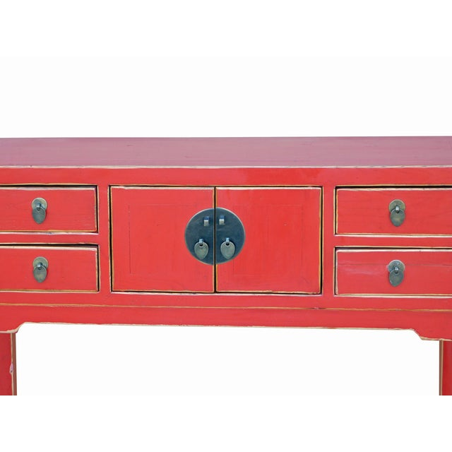 Chinese Distressed Red Narrow Hall Table For Sale - Image 5 of 6