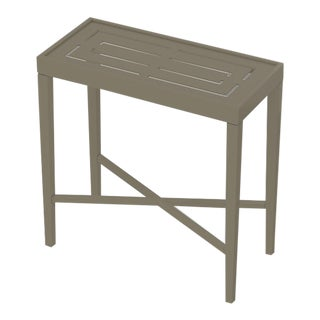 Oomph On the Rocks Rectangle Outdoor Side Table, Taupe For Sale
