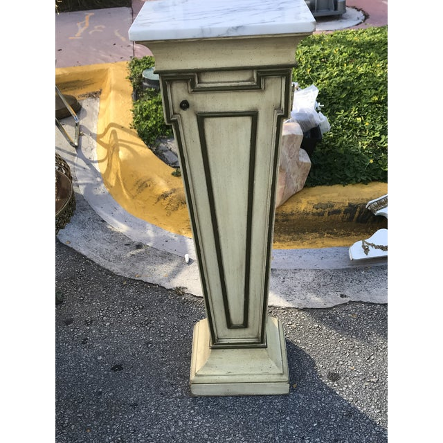 Wood Mid-Century Marble Top Display Pedestal For Sale - Image 7 of 8