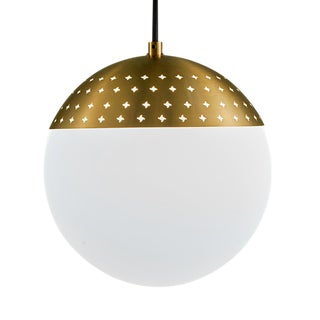 Brushed Brass Opal Globe Light For Sale
