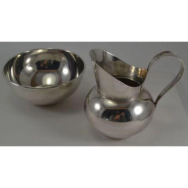 Mid-Century Modern Gorham Sterling Silver Mid Century Modern Sugar & Creamer 772 773 For Sale - Image 3 of 10