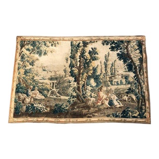 Large 18th Century French Aubusson Pastoral Tapestry in the Manner of Boucher For Sale