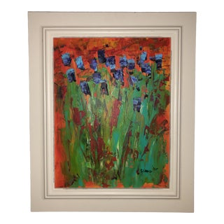 1980s Abstract Floral Still Life Acrylic Painting by Steven L. Ward, Framed For Sale