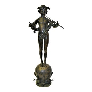 Antique, 1890 Bronze Pan Boy of Rohallion With Flutes Signed and Dated Sculpture, Paris For Sale