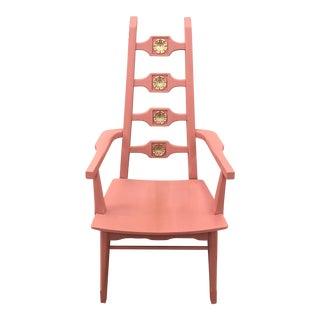 1960s Mid Century Modern Pink Wooden Throne Style Chair