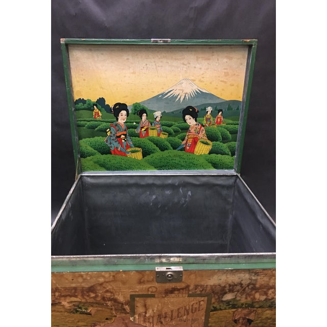 Wood 20th Century Japanese Tin Lined Tea Crate For Sale - Image 7 of 8