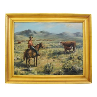 Midcentury Sandy Pearce, Western Cowboy, Horse & Cattle Oil Painting For Sale