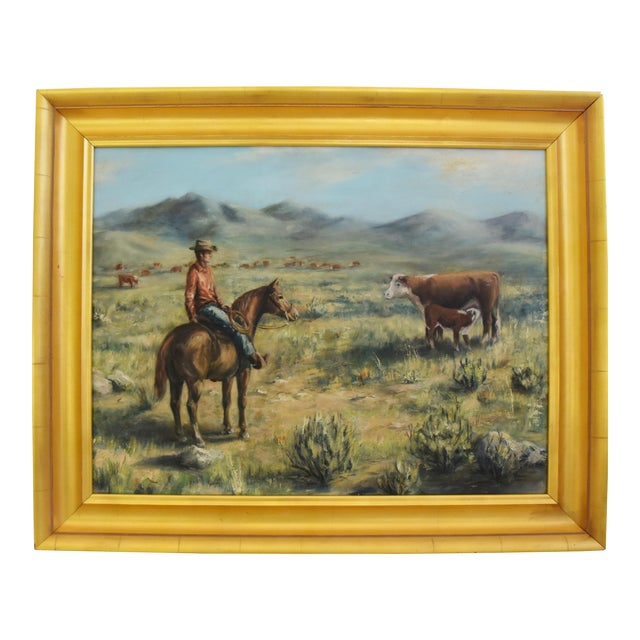 Midcentury Sandy Pearce Western Cowboy Horse Cattle Oil Painting