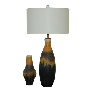 Fantoni Italian Ceramic Table Lamp Matching Vase Ochre For Sale