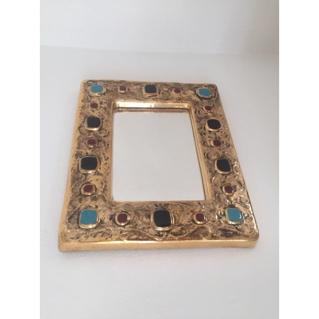 Francois Lembo Mirror Gold With Black, Red, Turquoise Jewels France For Sale - Image 4 of 5