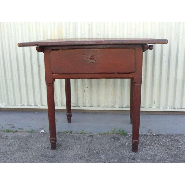 18thc Original Red Lift Top Tavern Table With Original Drawer - Image 3 of 10