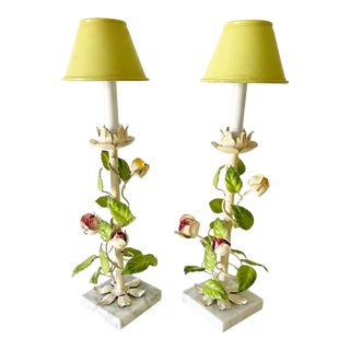 Italian Climbing Roses Lamps & Shades - a Pair For Sale