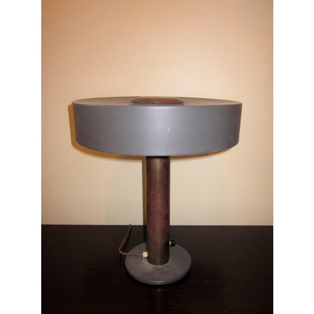 1950s Mid-Century Modern Matte Black and Gold Modernist Ufo Table or Desk Lamp For Sale - Image 10 of 11